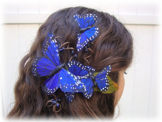 Fly Away with Me Blue Butterfly Barrette