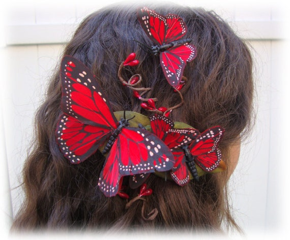Fly Away with Me Red Butterfly Barrette - romance, love, mother's day, valentine, kiss