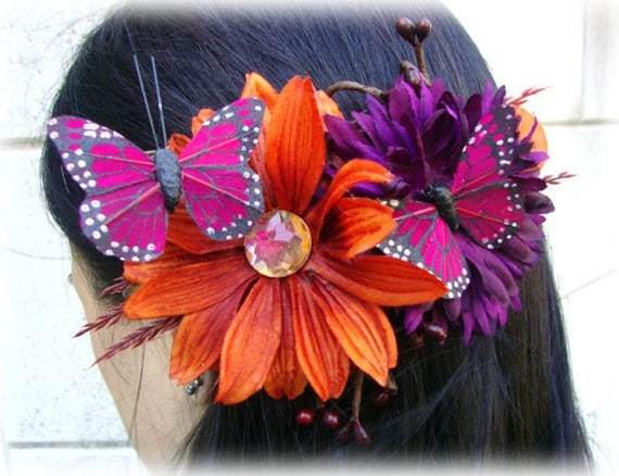 Magenta Butterfly Barrette with Orange and Purple Flowers