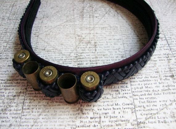Gold Bullet Black Leather Purple Steampunk Headband