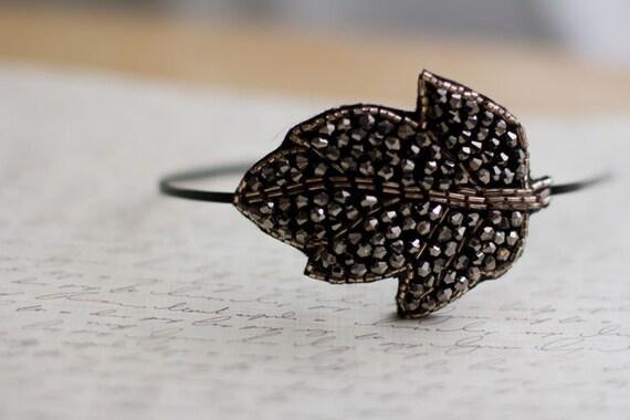 Romantic Black Leaf Beaded Headband