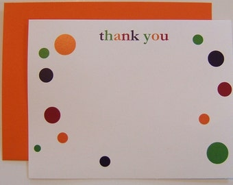Thank You Notes Stationery with Bold or Pastel Polka Dots Set of 10