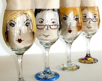 Custom painted wine glass to look like a friend or friends. Personalized Wine Glass