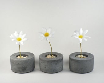 Mini Round Concrete Pot - set of 3