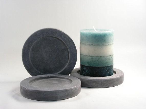 SALE: Round Concrete Pillar Candle Plate - set of 3