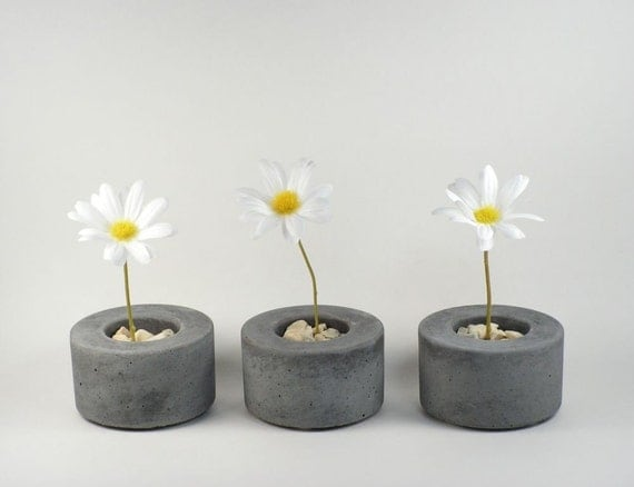 mini round concrete pot set of 3. Black Bedroom Furniture Sets. Home Design Ideas