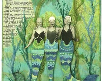 Three Mermaid Sisters Art Print Mixed Media Altered Art Signed