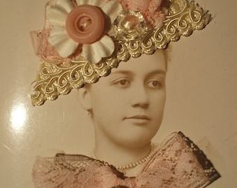 Be Mine VALENTINE Altered Art Cabinet Card Photo Assemblage Pink