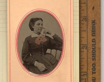 Antique Photo Tintype Tin Type Late 1800's LADY / WOMAN Paper Frame