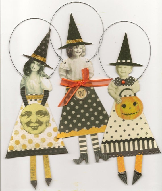 3 HALLOWEEN Whimsical Witches Altered Art Paper Ornaments Mixed Media