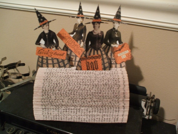 4 HALLOWEEN Witches in a Folded Book Display Altered Art Paper Dolls Mixed Media