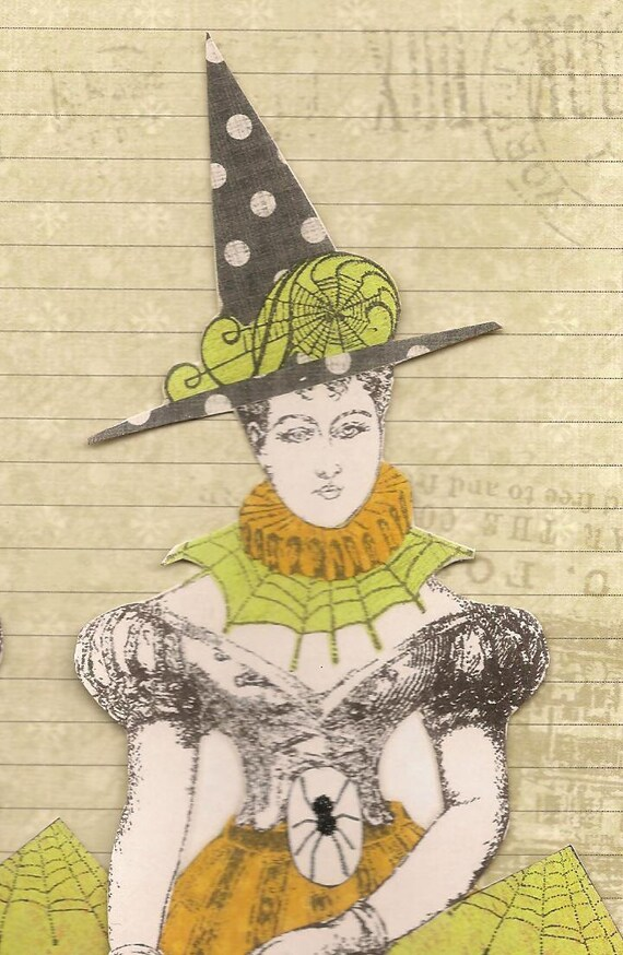 Halloween Witches Altered Art Mixed Media Paper Dolls Set of 2