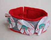 Lovey Dovey Felt and fabric cuff bracelet