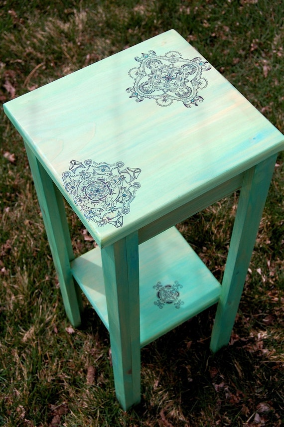 Green-washed Plant Stand with hand-drawn intricate details