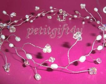 H06 Swarovski Crystal Wedding Bridal Hair Vine / Choker Necklace