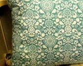 Bird & Floral Folk Art Cushion. Duck Egg Color.