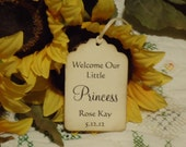 Welcome Our Little Princess Handmade Custom Personalized Gift Wish Tree Baby Shower Tag 25 Pieces