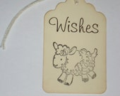 Wishes Lamb Baby Shower Tags 6 Pieces