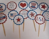 SALE     Set of 12 4th of July Cupcake Toppers 12 Different Designs    SALE
