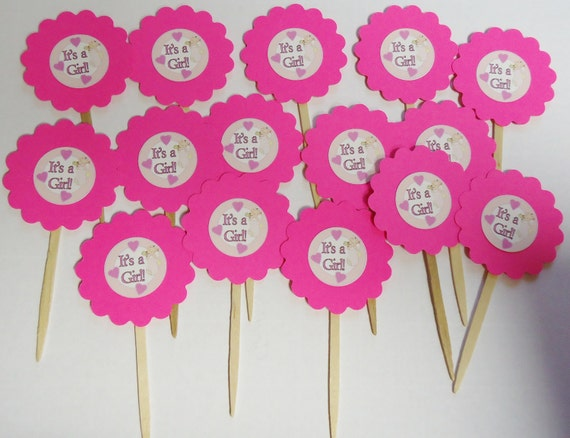 Special Pricing on these Only Set of 15 It's a Girl Baby Shower Cupcake Toppers