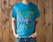 Vintage Puerto Rico Frog in Car T-Shirt in Teal