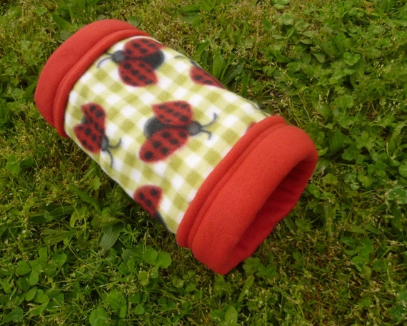 Fleece Guinea Pig Tunnel for Small Animals -- Ladybug Picnic (M)