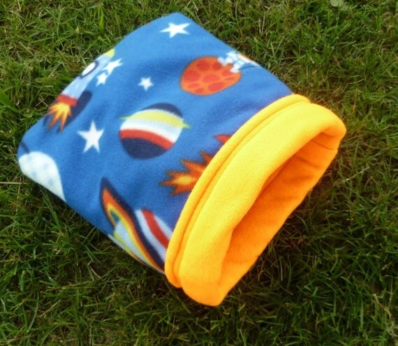Fleece Cozy Sack for Guinea Pigs and Small Animals -- To the Moon (M)