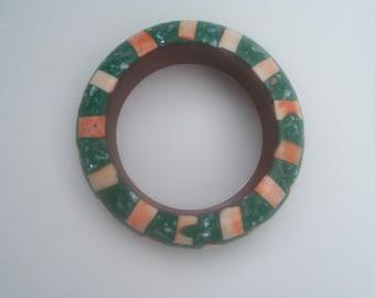 80s SHELL AND BONE--Bangle--Green and Orange Inlay--Mosaic--India