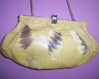 80s DANIELLE--It Was All Yellow--Leather and Python--Clutch or Shoulder Bag