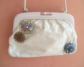 70s AVANTIQUE--Upcycled Clutch--Three  Rhinestone Brooches--Made in Italy--White Leather--Colorful Rhinestones