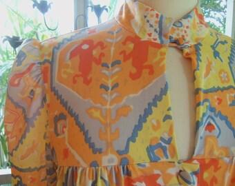 70s DONALD BROOKS--Ethnic Print Kaftan/Lounger--Nylon Jersey--Keyhole--Maxi--Peach and Blue