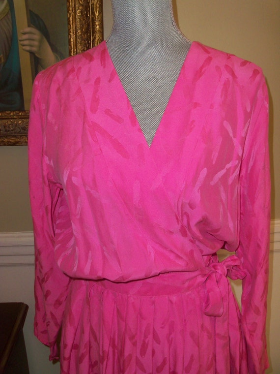 80s Argenti--Pink Silk Wrap Dress--Very Dashing--Fabulous 80s Dress