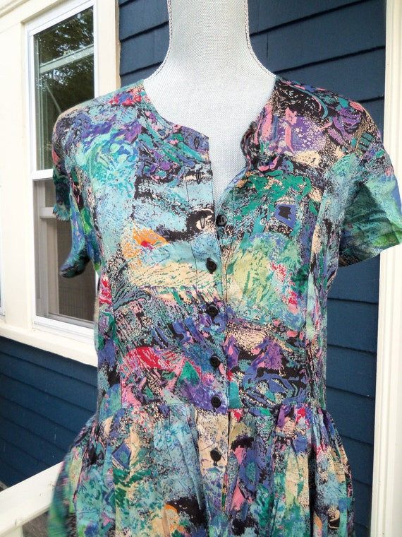 90s Made In India Dress--Grunge Princess--Paint Spatters and Splashes Print--Soft Viscose Rayon--Buttons