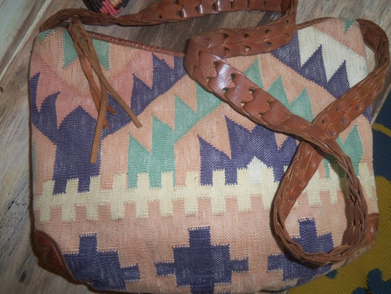 70s Kilim Me Softly--Shoulder Bag or Cross Body Bag--Boho--Woven Leather Strap--Tassel
