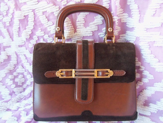 60's Made in Spain--Chocolate Drop--Mini Satchel--Two Tones of Chocolate--Suede and Vinyl--Ridiculously Adorable
