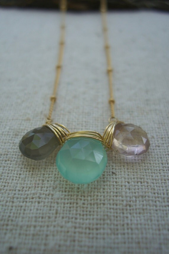 Three Wishes - Ametrine, Sea Foam Blue Chalcedony, Gray Moonstone and 14K Gold-fill Necklace