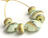 Lampwork Glass Bead Set - Pistaschio Twist Lentil - UK SRA Artisan Beads