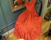 FAB 1970s Jessica McClintock Gunne Sax Red Dotted Swiss Gown Prom Stand-Out