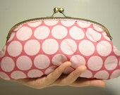 180mm Metal Frame Pouch / Purse - Pink with Big Dots