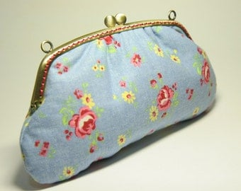 180mm Metal Frame Pouch / Purse - Roses and little yellow flowers on Demin