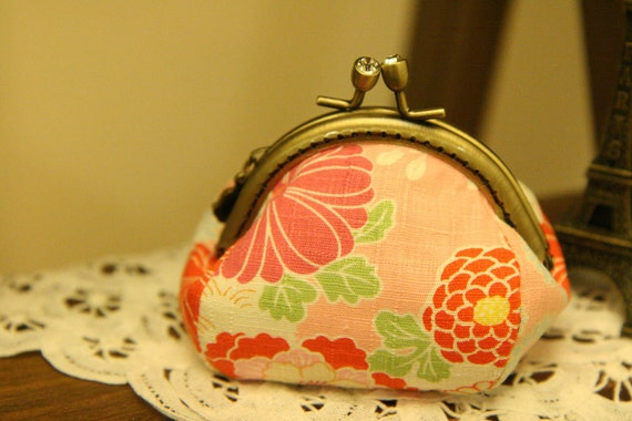 85mm Metal Frame Coin Purse Pouch(4pieces) - Floral pattern in Pink