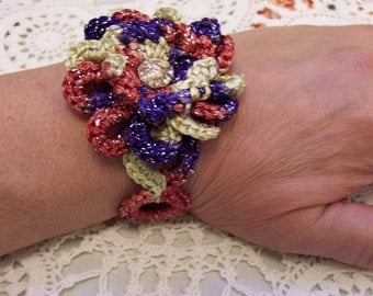 CROCHETED Patriotic ROSE Bracelet