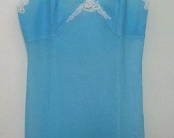 Reduced 20% Pretty Vintage 1970s BLUE SLIP DRESS 34 bust