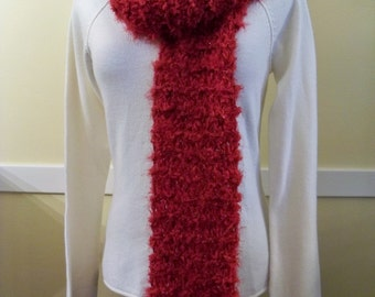 SOFT and CHUNKY Knit CRANBERRY Red Scarf