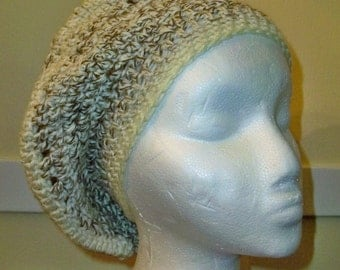 CROCHETED Pearl Frost SLOUCHY BERET
