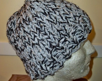 CHUNKY Knit Men's Hat GREY and BLACK