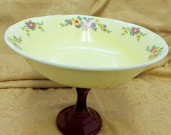 UPCYCLED Footed Vintage POTTERY Bowl SERVER Pretty