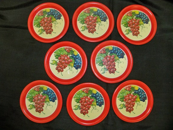 Set of 8 Vintage Metal Coasters Grape Litho Pattern