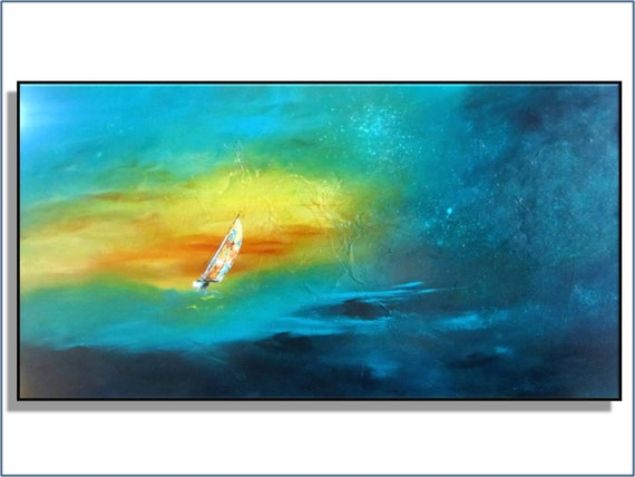 """Reserved for Monica. Sailboat. Modern Abstract. Large 36"""" Original Painting. Free Shipping. Title Sailing. by RenaeSchoeffelArt"""