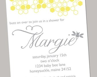 Bumble Bee Baby Shower Invite JPEG